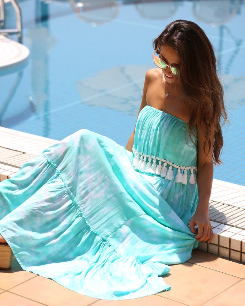 胸元タッセルフリンジが可愛いフリルブライズメイドドレス