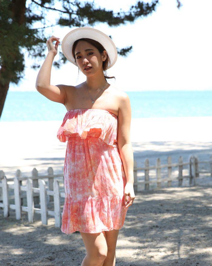 ブライズメイドドレスでおすすめなタイダイ柄のショートワンピ