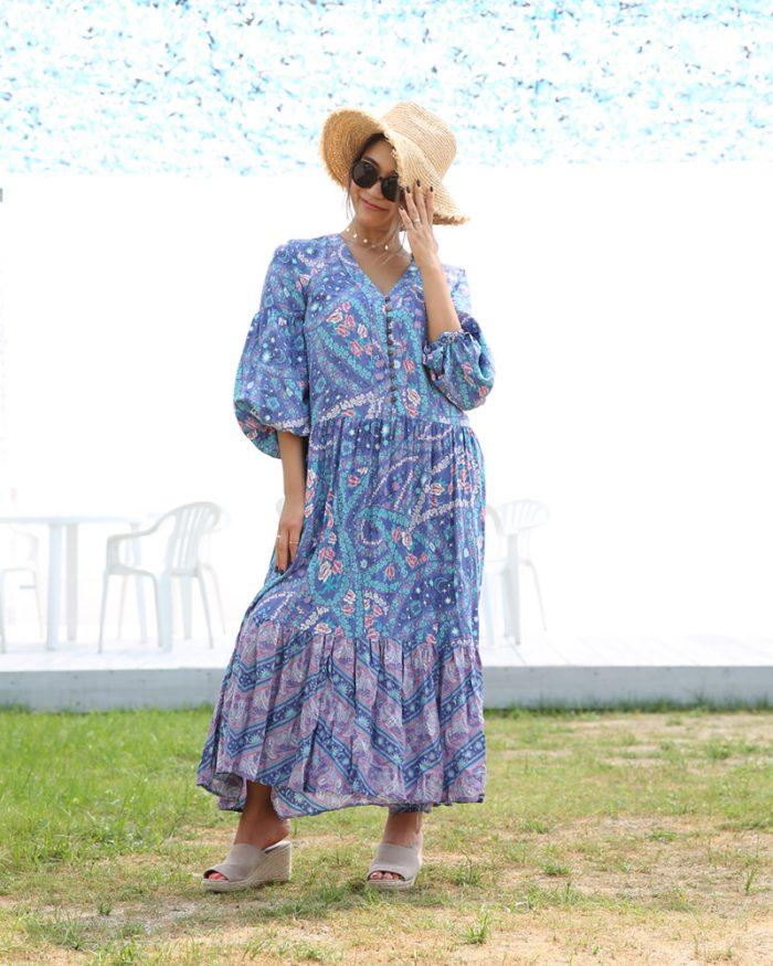 バルーン袖が可愛いAラインボヘミアンマキシワンピ