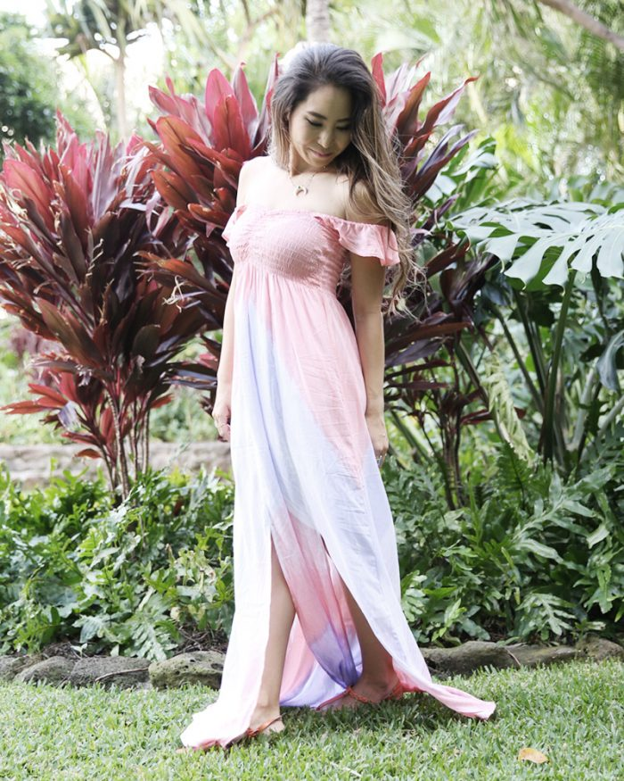 大人のリゾートワンピース通販CANBE(キャンビー)ブライズメイドドレスとしておすすめのオフショルグラデーションピンクマキシワンピ