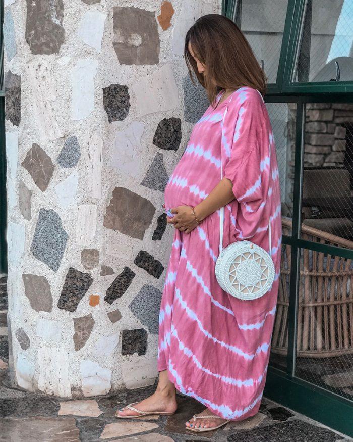 ピンクのドルマンマキシワンピース