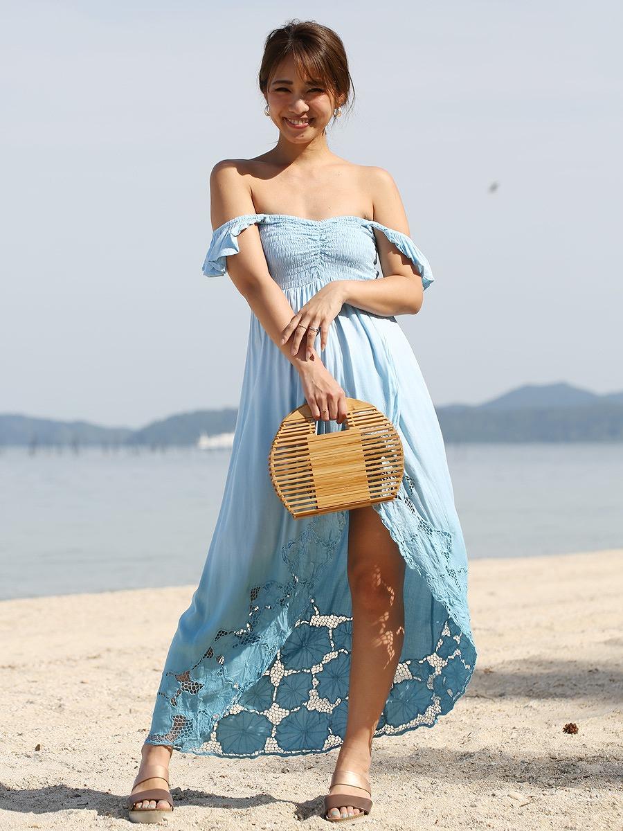 Tiare Hawaii(ティアレハワイ)ソルトグレース刺繍オフショルマキシワンピース/ブルー