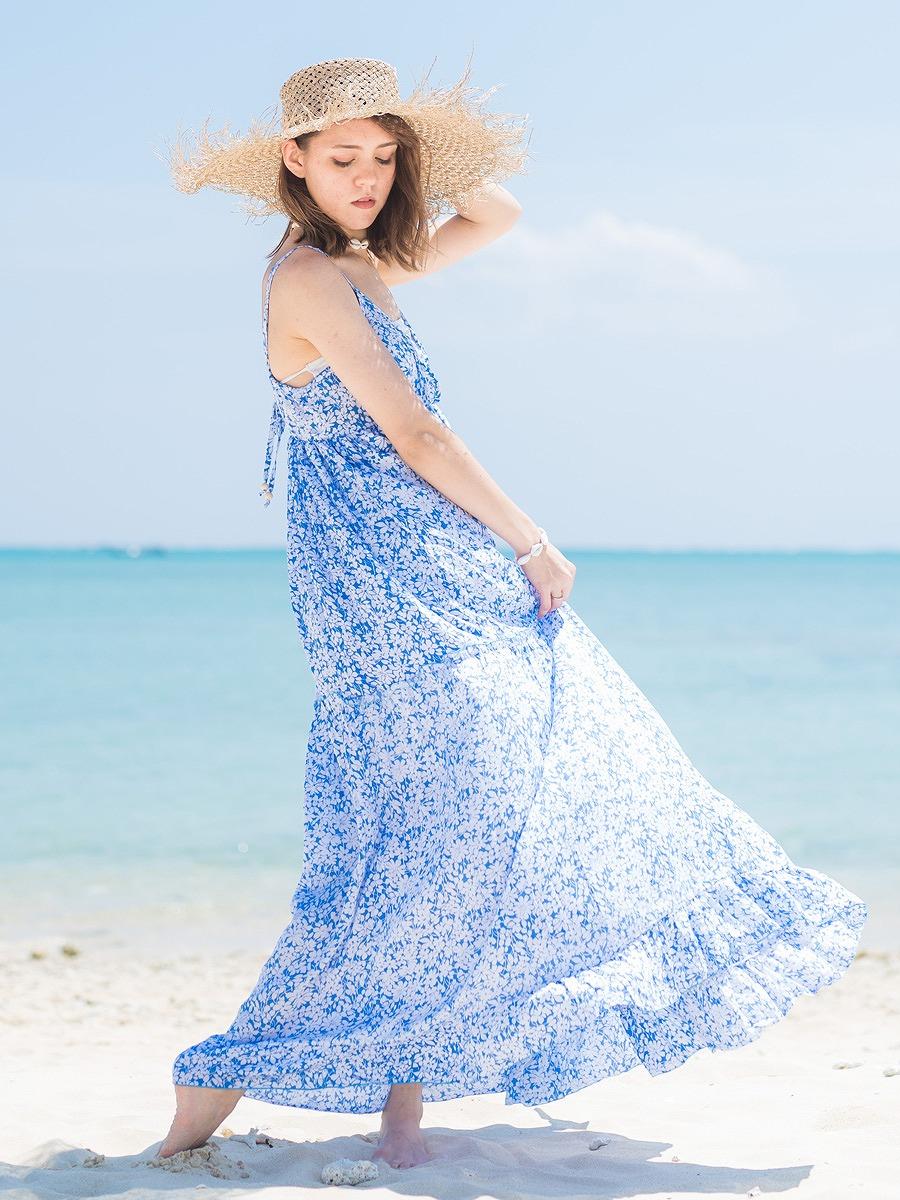 LAUT BLUE(ラウトブルー)ラナイマキシワンピース/花柄