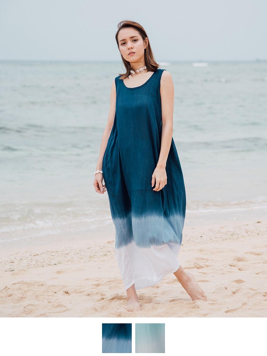 LAUT BLUE(ラウトブルー)コッパマキシワンピース/グラデーション