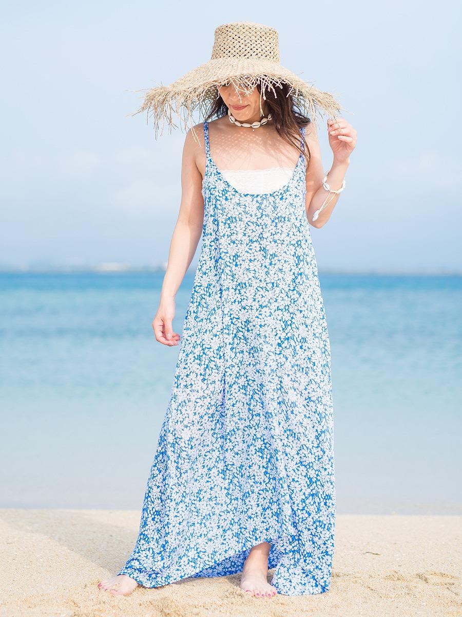 LAUT BLUE(ラウトブルー)ペニッシュマキシワンピース/花柄
