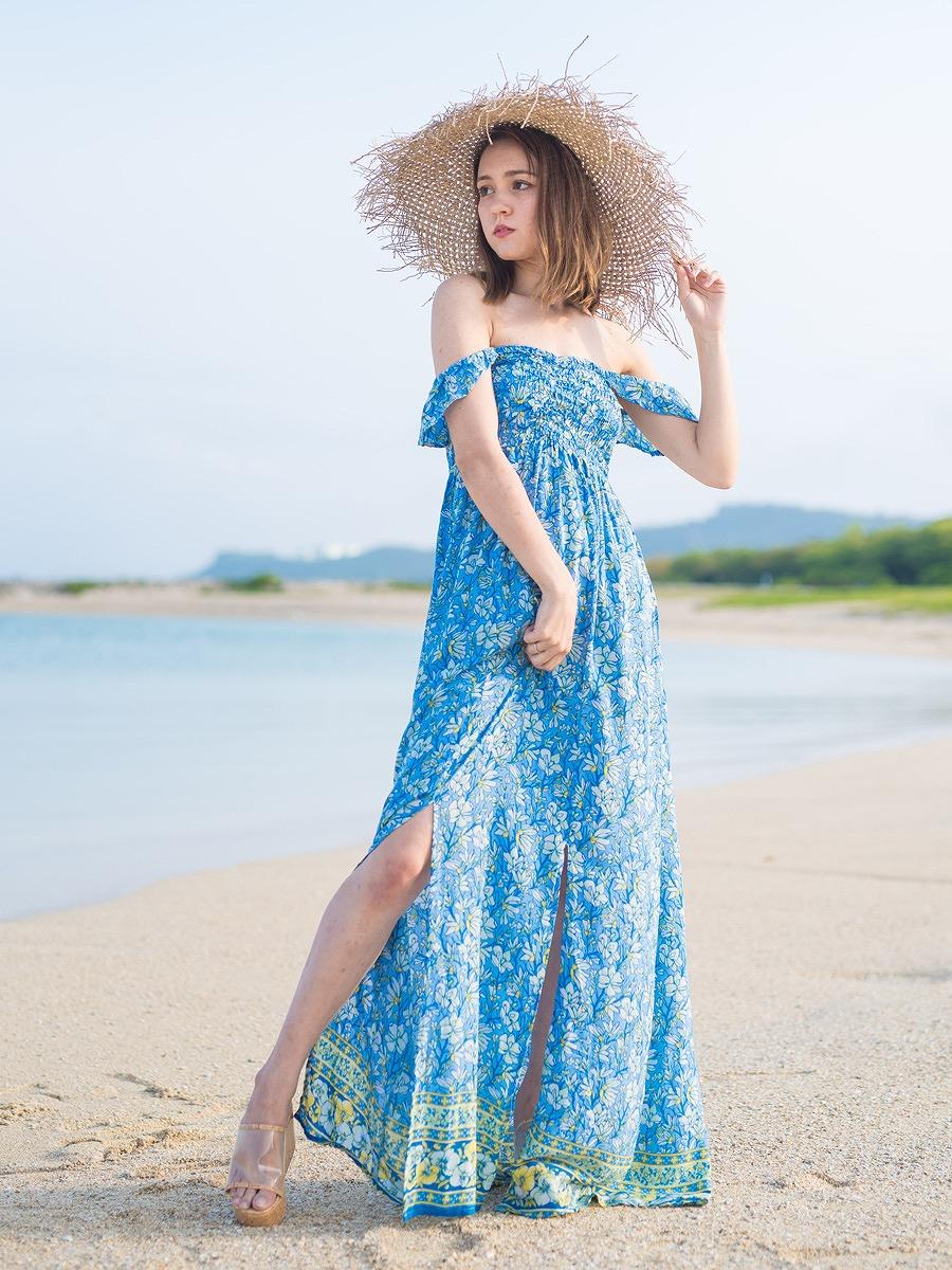 LAUT BLUE(ラウトブルー)ティモールマキシワンピース/ブルー