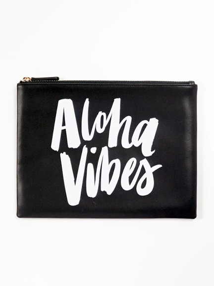 """ki-ele(キ・エレエ)""""Aloha Vibes""""ブラックレザークラッチバッグ"""