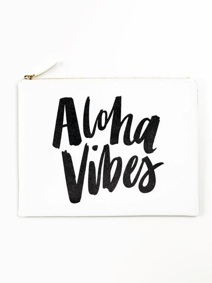 "ki-ele(キ・エレエ)""Aloha Vibes""ホワイトレザークラッチバッグ"