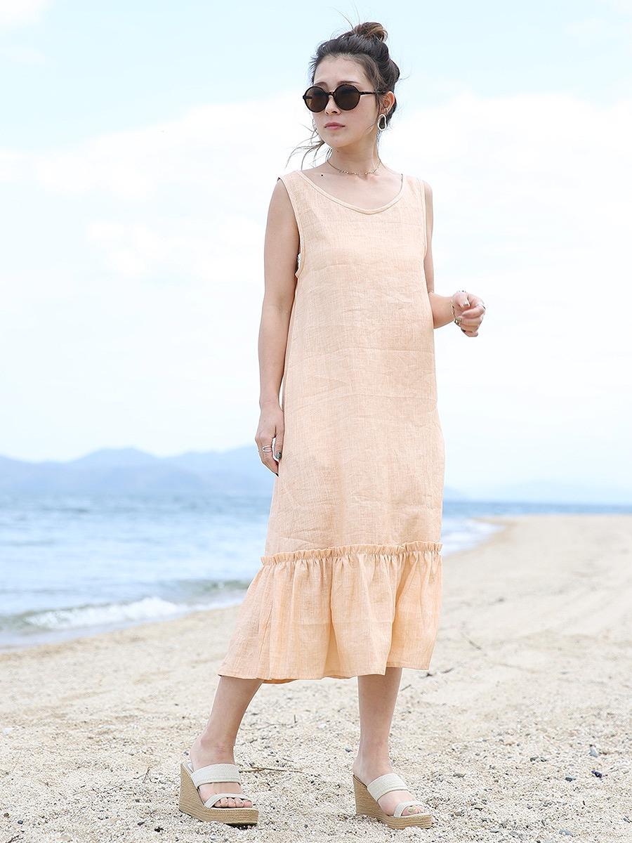 MOLABI(モラビ)近江ちぢみリネンマキシワンピース/オレンジ