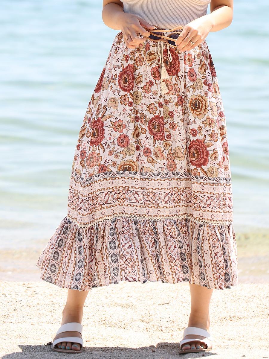 花柄アイボリーマキシスカート