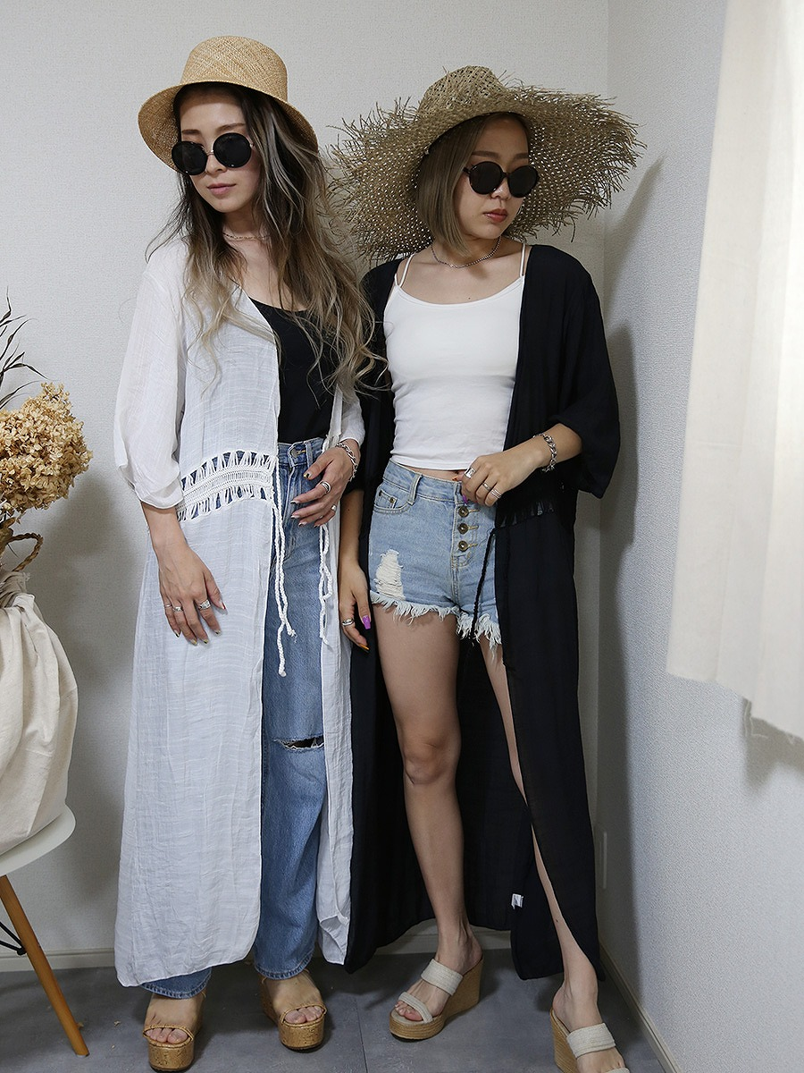 roomy by the sea(ルーミーバイザシー)長袖ロング羽織りカーディガン