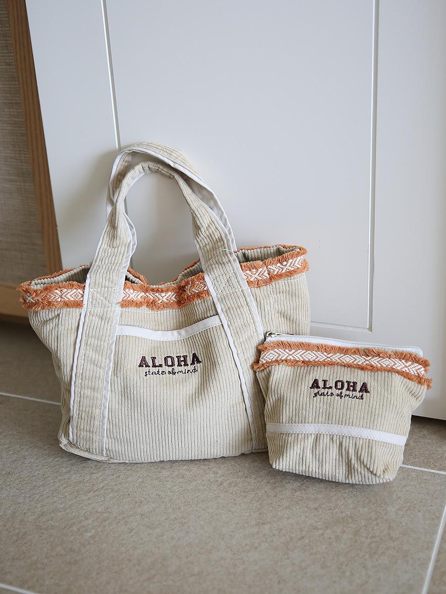 Alohaコーデュロイミニトートバッグ