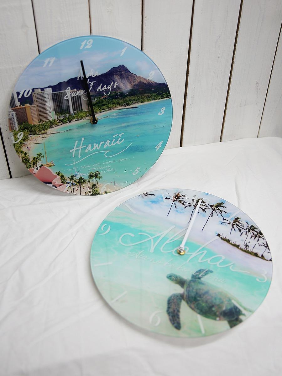 ハワイアンなラウンド時計/Mサイズ