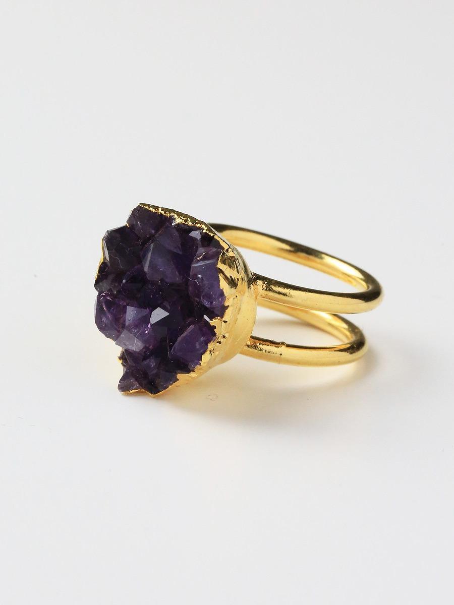 LUX divine(ラックスディヴァイン)Amethyst Cluster Druzy Stackable Ring 24K Gold