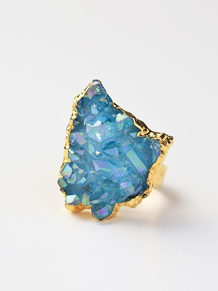 LUX divine(ラックスディヴァイン)AURA Crystal Quartz Cluster Ring 24K Gold filled