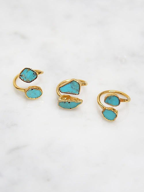 LUX divine(ラックスディヴァイン)Turquoise Wrap Ring 24K Gold filled